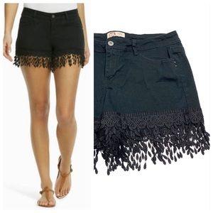 ۥ LEI Black Jean Shorts with Fringe J0